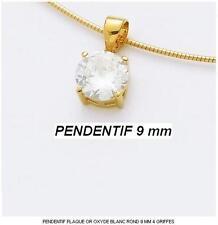 Dolly-Bijoux Femme Pendentif Diamant Cz Rond 9 mm Plaqué Or 18K 5 Microns