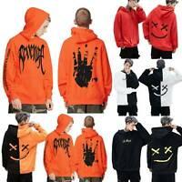 Mens Printed Hoodie Sweatshirt Hip-Hop Pullover Jumper Casual Baggy Coat Tops