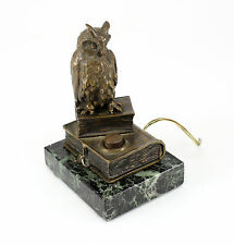 Austrian Cold Painted Bronze Owl Figural Servant Bell on Marble Base, c.1920