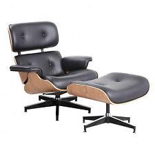 Eames Style Lounge Chair Ottoman Genuine 100% Grain Italian Leather Walnut Wood