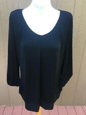 d4a5fc2da15 Chico's Travelers Black Ruched V-neck Tunic Top Blouse Size 3 XL 16 18