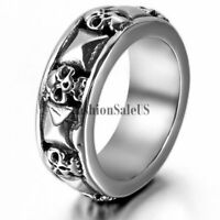 Men's Gothic Biker Skull and Pyramid Combination Cast Band Ring Halloween Gift