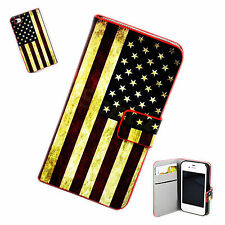 US Flag Leather Skin Magnetic Wallet Flip Cover Case For Apple iPhone 4 4G 4S