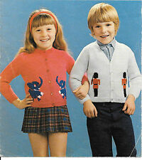 Vintage Cardigan Knitting Pattern, Boys Girls Elephant Soldier 4 ply 20 - 26""