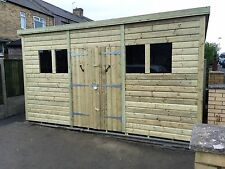 GARDEN SHED HEAVY DUTY TANALISED 12X8 PENT 22MM T&G. 3X2.