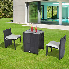 3 in 1 Rattan Set Balcony Patio Furniture Dining Table Chair W/ Cushions