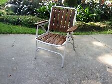 Retro Vintage  REDWOOD Aluminum Folding Lawn Chair patio wood porch yard