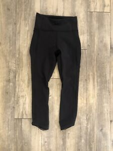 "Lululemon Wunder Under 2 High Rise Waist  Leggings Black 22"" mesh"