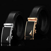 Fashion Men's Genuine Black Leather Automatic Buckle Waist Strap Belt Wristband