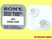 10 x Sony 364 Knopfzellen Uhrenbatterie V364 SR621SW SR60 SR621 AG1 Silver