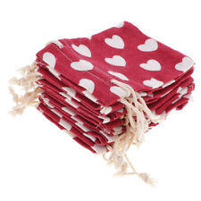 10Pcs Red Heart Linen Pouches Drawstring Wedding Favor Bags Jewelry Packaging