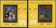 "1974 ""Dahomey"" UPU, Space, Apollo, Locomotive, 2 Golden Sheets VF/MNH! CAT 90$"