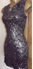 Fab ❤️Jane Norman Black Silver Sequin Mini Wiggle Evening Party dress size 10 12