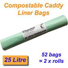 52 x 25 litres compostable les déchets alimentaires Caddy liner sacs biodégradable