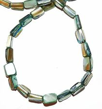 MP1745 Blue-Green Medium 10mm - 12mm Tri-Tip Nugget Mother Of Pearl Shell Beads