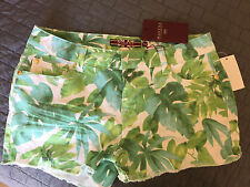 Makers of True Originals Jean Shorts, Floral Print, Green And White, NWT Size 29