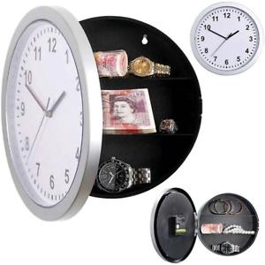 Wall Clock Safe Hidden Secret Jewelry Security Money Cash Compartment Stash Box