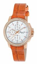 BRAND NEW KENNETH COLE WOMENS KC2803 ORANGE LEATHER STRAP CHRONOGRAPH WATCH