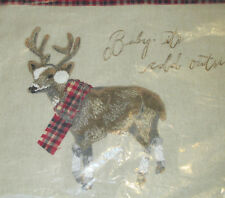 Pottery Barn Baby Its Cold Outside Chilly Reindeer Pillow Cover 12X16 Nwt Plaid