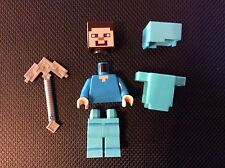 New Lego Minecraft Steve Minifigure with Armor Weapon from set 21124 Unassembled
