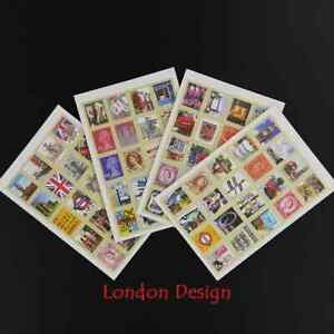 London Stamp Stickers x 4 Sheets