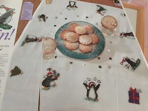 Christmas Table Cloth Penguin Design Cross Stitch Chart Margaret Sherry
