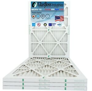 Glasfloss 18x22x1  - MERV 10 - (Qty: 4) - Pleated Furnace Air Filter Made in USA