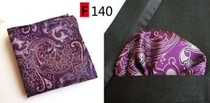 Pocket Square Handkerchief Hanky Navy Pink Silver Grey Yellow Purple Patterned