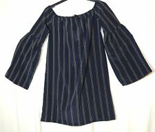 NAVY BLUE WHITE STRIPED LADIES CASUAL PARTY TUNIC TOP BLOUSE MISSGUIDED SIZE 8