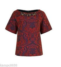 New M&S Per Una Ltd Edition Red & Purple Textured Woven Beaded Top Sz UK 18
