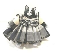 """Vintage Mama Cat, Small 4"""" Rag doll, Soft Body With Porcelain Head And Paws"""