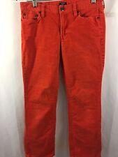 J Crew Corduroy Pants Trousers Slacks Men 28X29 Matchstick Orange Red Boot Cut