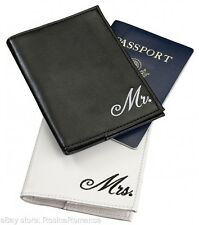 Mr & Mrs Passport Covers White Black Gift Set Honeymoon Present Holiday Travel