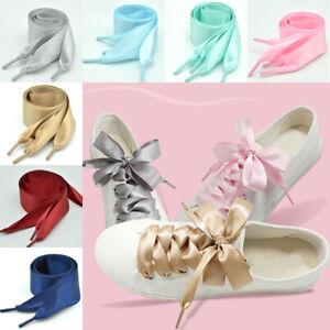 2Pair Flat Silk Shoe Laces Satin Silk Ribbon Sneaker Shoe Strings Wide Shoelaces