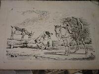 Dominique Vivant DENON (1747-1825) Gravure EAU FORTE PAYSAN CHEVAL CHEVRE 1800