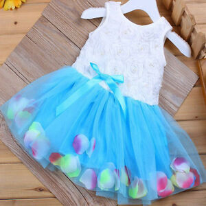 Kids Girls Flower Frilly Lace Tutu Tulle Bow Swing Dress Princess Party Prom New