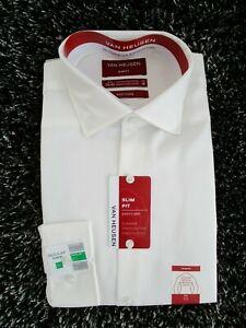 Van Heusen  Men's Slim Fit White Business Shirt  Size: M/40