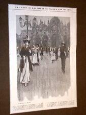 Una sera di novembre in Piazza San Marco nel 1908 Disegno di Umberto Martina