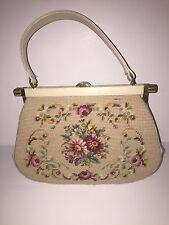 Women's Beige Floral Print Needlepoint Handbag Free Shipping!