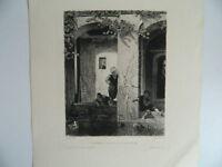 Dopo Decamps Incisione Acqua Forte Bambini Turchi Alla Fontana Lane 1898