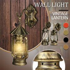 Rustic Antique Industrial Vintage Retro Lantern Wall Lamp Sconce Light    L J