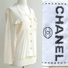 Chanel Silk Blouse Top Heavily Pleated Detail Gold 4 Leaf Clover Buttons 40/6