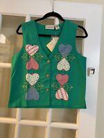 VTG highgate ltd NWT valentines day beaded green sleeveless vest womens small