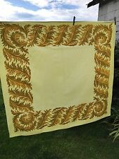 VINTAGE YELLOW FEATHER OR LEAF PRINT TABLECLOTH