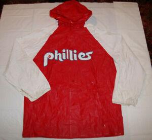 Philadelphia Phillies Vintage 1980s Red & White Rain Jacket Adult Small/Medium