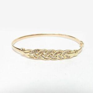 Estate 14K Yellow Gold 41 Round Brilliant Cut Diamond Bangle Bracelet 0.50 Cts