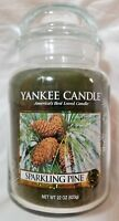 Yankee Candle SPARKLING PINE Large Jar 22 Oz New Housewarmer Green Festive