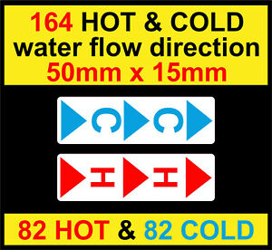 164 HOT & COLD stickers water flow direction decals Warning Safety Labels