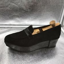 Robert Clergerie Size 6.5 39.5 Black Suede & Leather Platform Wedge Shoes Womens