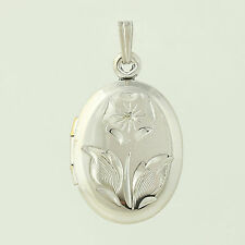 Flower Locket Pendant - Sterling Silver Opens for Pictures 925 Floral